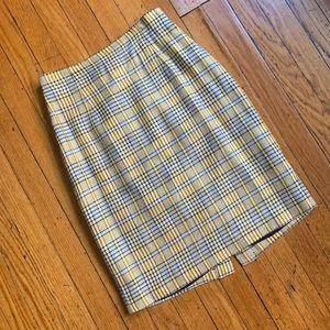 Clueless 1990s Yellow & Black Plaid Skirt